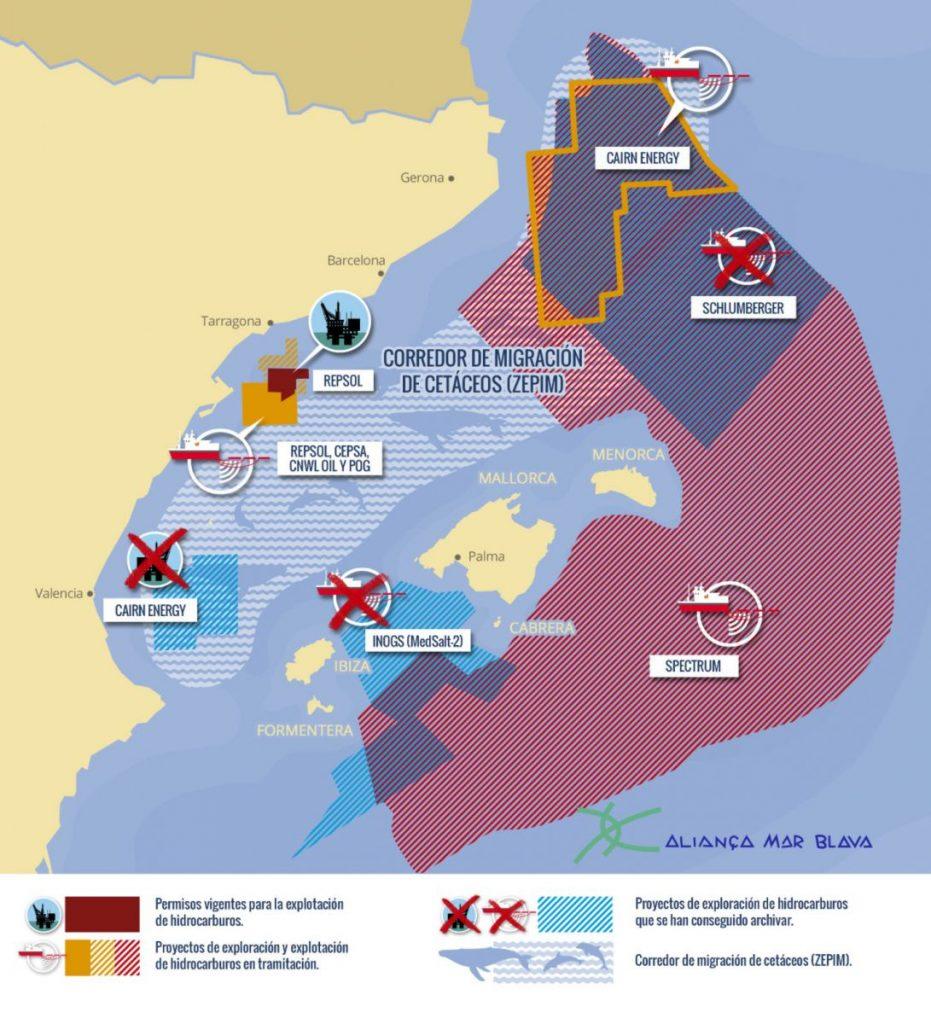 Proyectos activos y en tramitación de exploración y explotación de hidrocarburos en la región levantino-balear