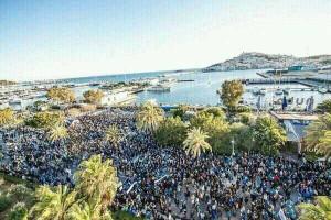 Foto aérea de la manifestación en Ibiza 2014-02-22