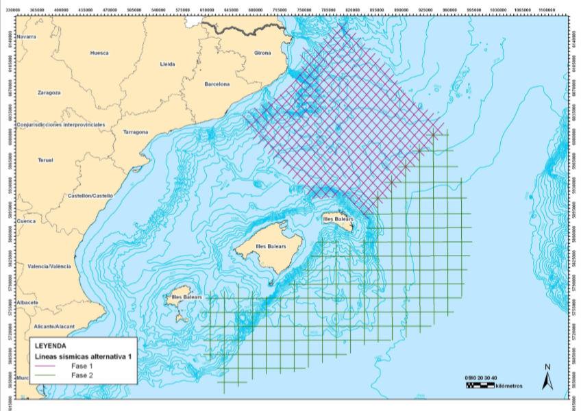 sísmica 2D en áreas libres del Mediterráneo noroccidental mar Balear