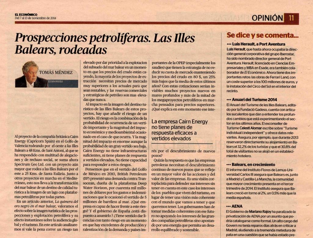 Tomas Mendez Prospecciones petroliferas. Las Illes Balears, rodeadas