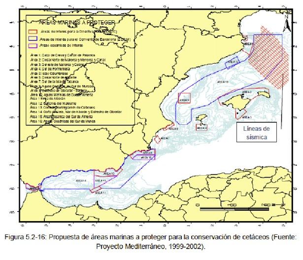 Mapa donde se puede apreciar el amplio solapamiento del área de sondeos acústicos de Seabird en el golfo de León con el corredor de migración de cetáceos (ZEPIM)