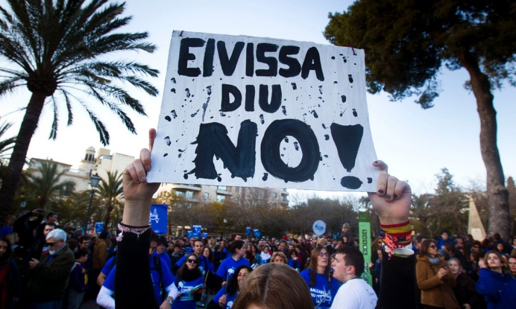 Protesters hold up a poster saying 'Ibiza says no' during a demonstration against oil exploration off the coast, in February 2014. Photograph: Jaime Reina/AFP/Getty Images