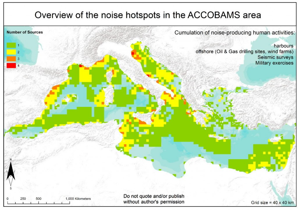 Overview of noise hotspots in the ACCOBAMS area