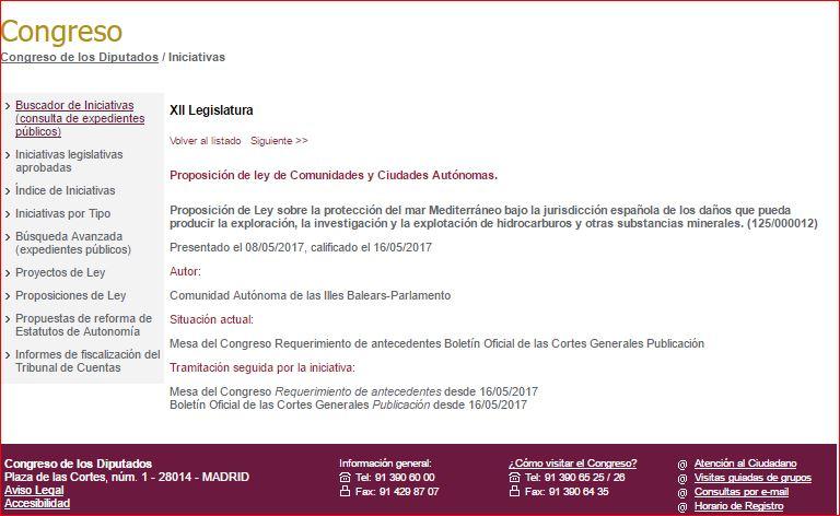 Captura de la proposición del ley en la web del Congreso
